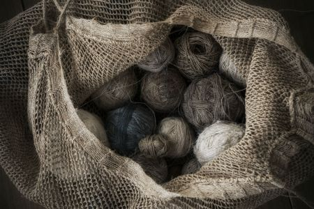 Flax Spun Into Balls Of Linen Yarn