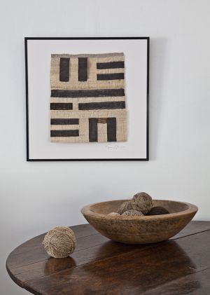 Framed Black And White Wood Table And Bowl